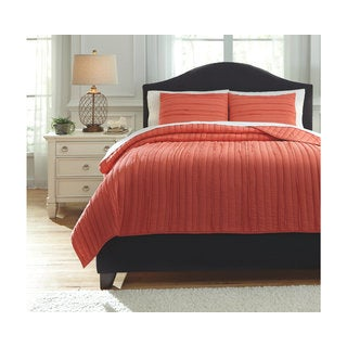 Signature Design by Ashley Solsta Coral 3-piece Coverlet Set