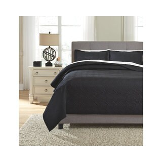Signature Design by Ashley Aldis Black 3-piece Coverlet Set