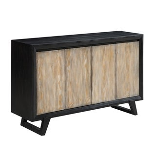 57'Black Credenza Accent Cabinet with Four Rustic White Wooden Grain Door