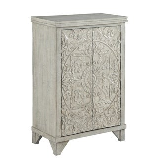 "29""Rustic White Accent Cabinet with Two Floral Pattern Door"