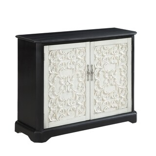 "47""Black Accent Cabinet with Two Floral Styled White Door"
