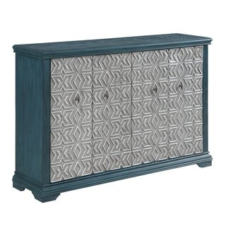 """61""""Vintage Style Dark Turqouise Credenza Accent Cabinet with Four Silver Pattern Door"""