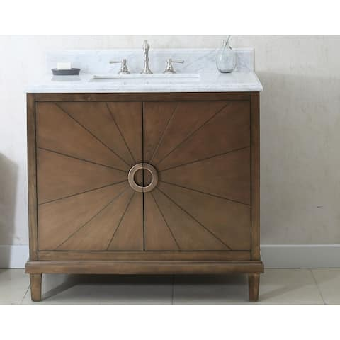 37 in. Bathroom Vanity in Antique Coffee with Marble Top