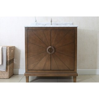 31 in. Bathroom Vanity in Antique Coffee with Marble Top