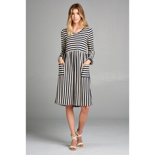 Spicy Mix Binx Striped Terry Dress With Pockets (More options available)