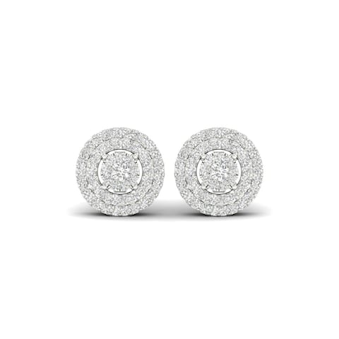 De Couer 10k White Gold 1/3ct TDW Diamond Cluster Double Halo Earrings