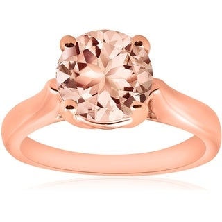 Bliss 14k Rose Gold 1 3/4ct 8MM Round Morganite Solitaire Engagement Ring - Pink (More options available)