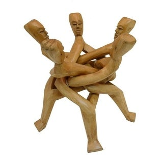 Handmade Five-Headed Abusua Unity Wood Stand (Ghana)