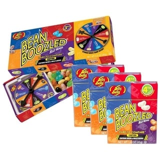 Jelly Belly BeanBoozled Jelly Beans Spinner Gift Box - 3.5 Ounce with Jelly Beans Flip Top Box - 1.6 Ounce - 3 Pack