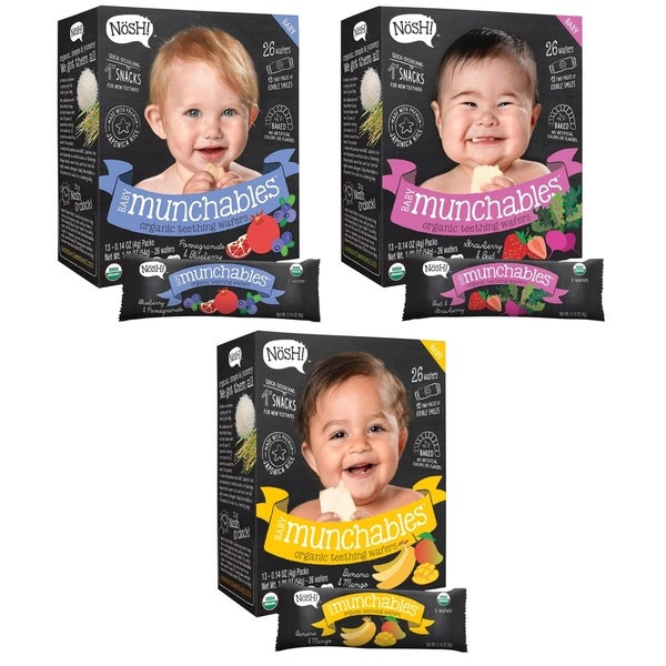Nosh Baby Munchables Organic Rice Teething Wafers 26 Piece - Sampler Pack (Pack of 3) - Option 2 34287394