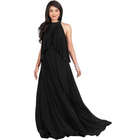 KOH KOH Womens Sleeveless Halter Flowy Brides Wedding Party Maxi Dress