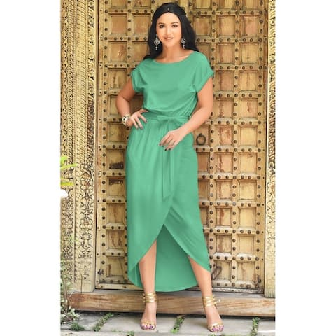 d8e6a7884c7f KOH KOH Womens Cap Sleeve Summer Party Sun Beach Round Neck Maxi Dress