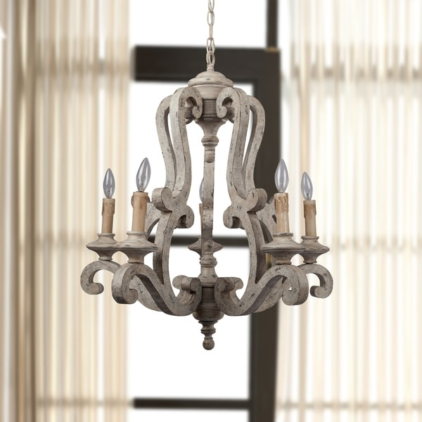 Russ 160 Antique White Iron 5-Light Candle-style Chandelier