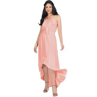 KOH KOH Womens Sexy Flowy Sleeveless Halter Neck Stylish Maxi Dress (More options available)