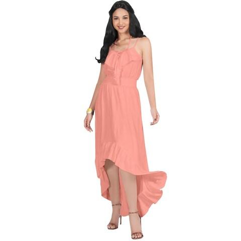 KOH KOH Womens Sexy Flowy Sleeveless Halter Neck Stylish Maxi Dress