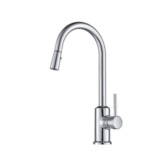 Stufurhome Brighton Gooseneck 1.8 GPM CalGreen Single-Handle Pull-down Sprayer Kitchen Faucet in Chrome