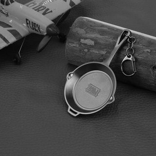 10cm PUBG Props Frying Pan Model Metal Keychain - M