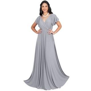 KOH KOH Womens Elegant Long Cap Sleeve Gowns Flowy Party Maxi Dress
