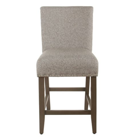Porch & Den Robin Sterling Grey Nailhead Counter Stool - 24 inches