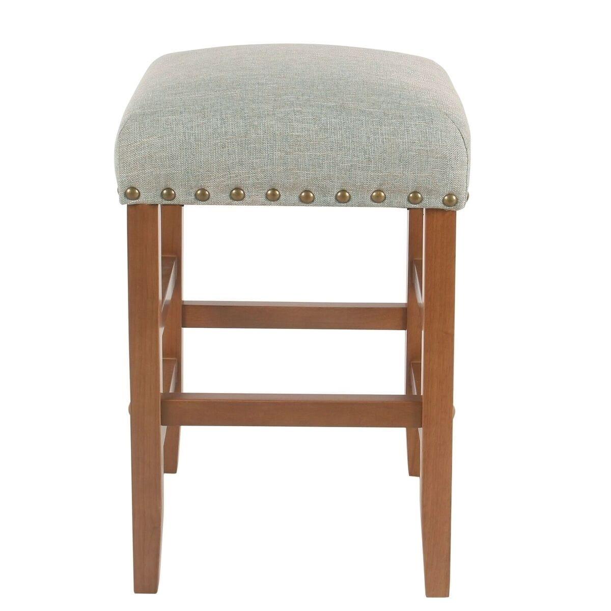 Fantastic Homepop Blake 24 Backless Counter Stool With Nailheads Vapor Teal Short Links Chair Design For Home Short Linksinfo
