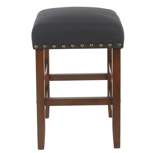 shop homepop blake 24 backless counter stool with nailheads dark