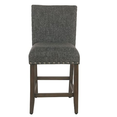 Porch & Den Robin Slate Grey Nailhead Counter Stool - 24 inches