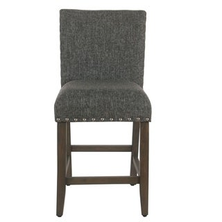 The Curated Nomad Van Hoskins Slate Grey Nailhead Counter Stool