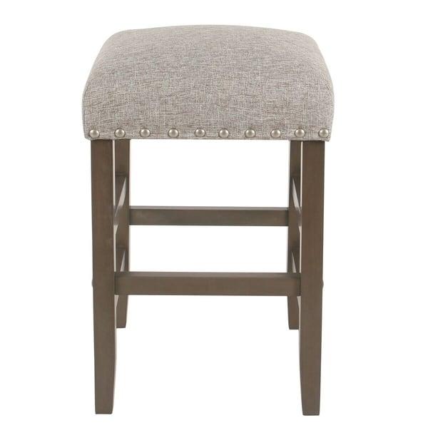 Strange Shop Homepop Blake 24 Backless Counter Stool With Nailheads Short Links Chair Design For Home Short Linksinfo