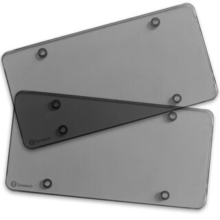 Zone Tech Clear Smoked License Plate Cover Frame - 2-Pack Novelty/License Plate Clear Smoked Flat Sh