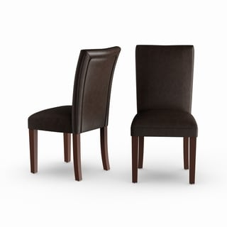 Homepop Parsons Dining Chair - Brown Faux Leather - set of 2