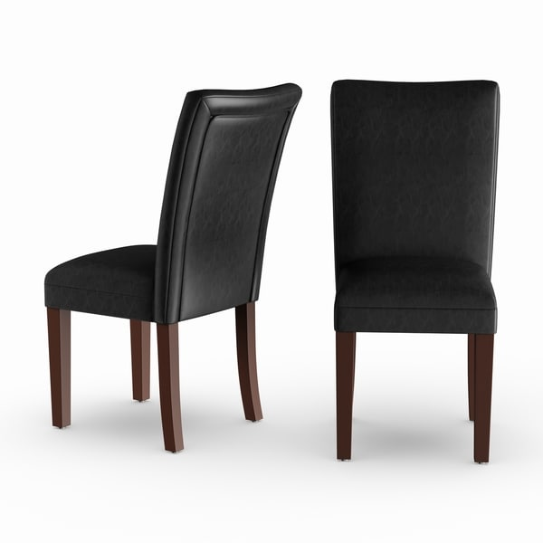 Homepop Parsons Dining Chair - Black Faux Leather - set of 2