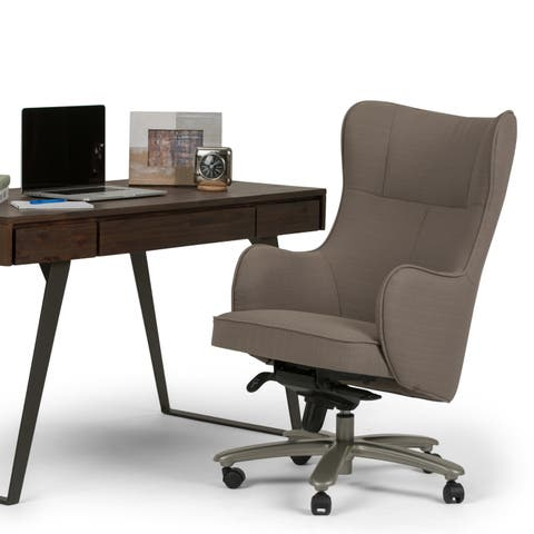 WYNDENHALL Frederic Swivel Adjustable Executive Computer Wingback Office Chair in Warm Grey
