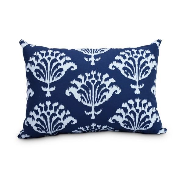 Shop Ikat 14 X 20 Inch Navy Blue Decorative Outdoor Throw Pillow