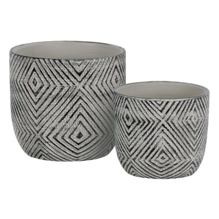 UTC55900: Terracotta Round Planter with Lattice Diamond Design Body Set of Two Painted Finish Black