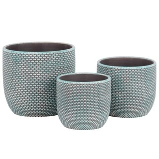 UTC55905: Terracotta Round Planter with Lattice Bricks Design Body and Tapered Bottom Set of Three Painted Finish Turquoise