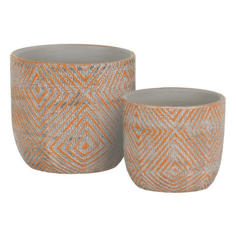 UTC55901: Terracotta Round Planter with Lattice Diamond Design Body Set of Two Painted Finish Orange