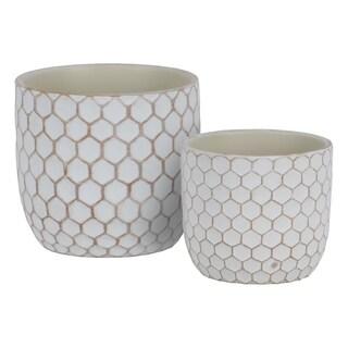 UTC55903: Terracotta Round Planter with Lattice Honeycomb Design Body Set of Two Painted Finish Cream