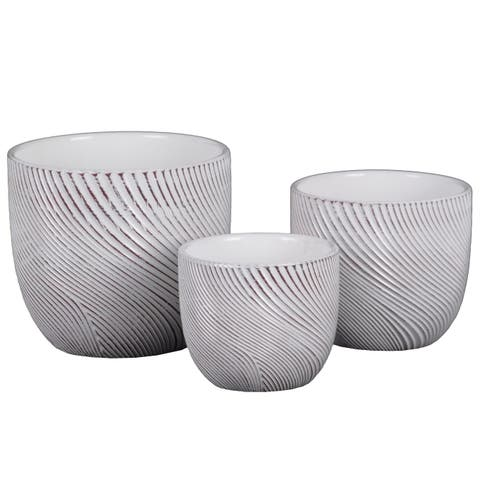 UTC55907: Terracotta Round Planter with Lattice Curve Lines Design Body and Tapered Bottom Set of Three Painted Finish White