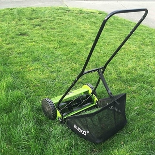 ALEKO 16 Inch Hand Push Lawn Mower Adjustable Cutting Height