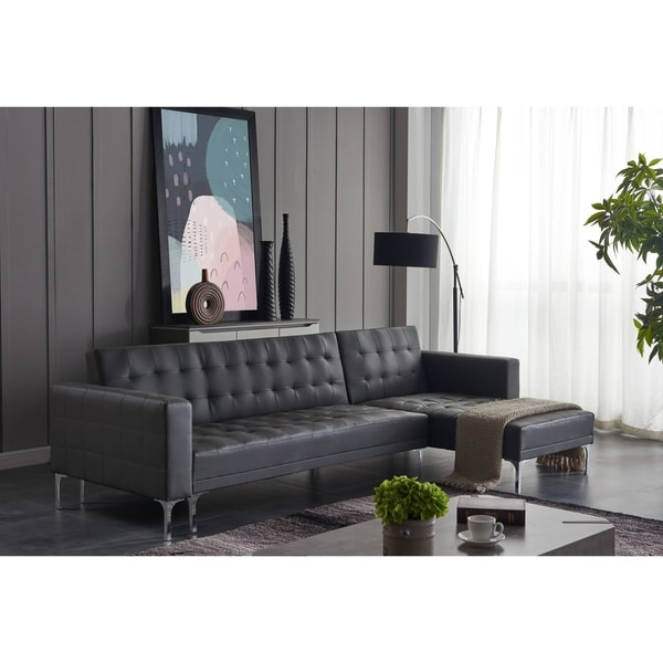 Shop Ladeso Modern Sectional Sofa-Bed Light Grey - Free Shipping ...