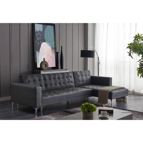 Ladeso Modern Sectional Sofa-Bed Light Grey