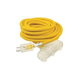 ALEKO ETL Extension Cord Lighted Plug SJTW 12/3 Indoor Outdoor 25 ft - Yellow