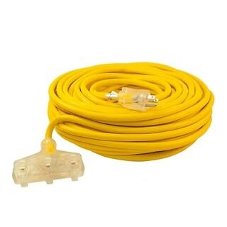 ALEKO ETL Extension Cord Lighted Plug SJTW 12/3 Indoor Outdoor 100 ft - Yellow