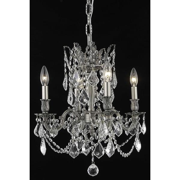 Fleur Illumination Crystal Accents Pewter Brass 4-light Pendant
