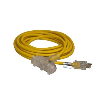 ALEKO Indoor Outdoor Extension Cord 25 ft 3Plug Lighted 12/3 Gauge - Yellow