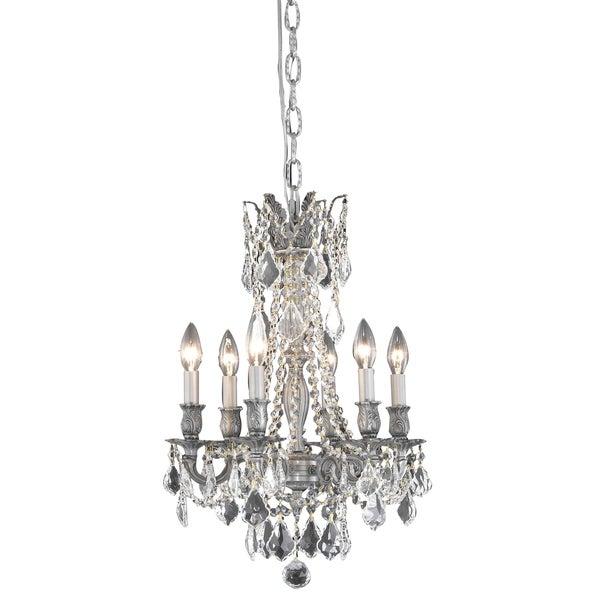 Fleur Illumination Pewter Brass/Crystal 6-light Pendant