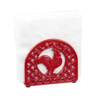 Sweet Home Collection Cast Iron Rooster Napkin Holder (Red)