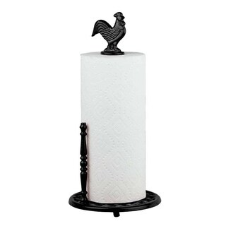 Sweet Home Collection Cast Iron Rooster Paper Towel Holder (Black)