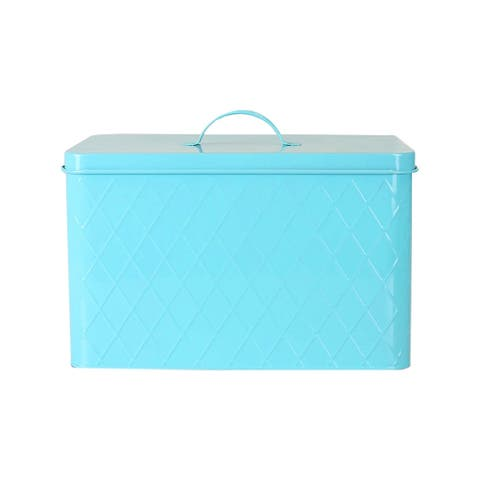 Sweet Home Collection Embossed Tin Bread Box (Turquoise)