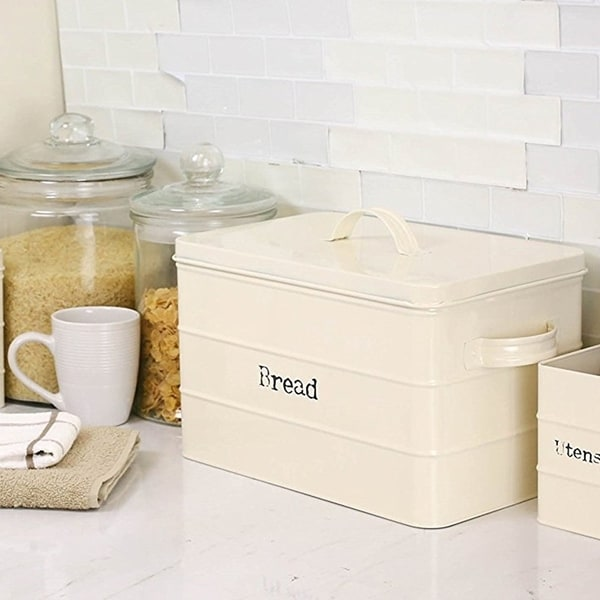 78579a1d9 Shop Sweet Home Collection Tin Bread Box (Ivory) - On Sale - Free Shipping  On Orders Over $45 - Overstock - 20675555
